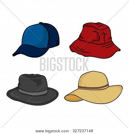 Hat Icon Isolated White Background, Headgear Design For Men And Women. Hat Vector Icon Modern And Tr
