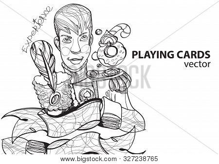 Jack Of Spades Playing Card Suit. Outline Drawing.