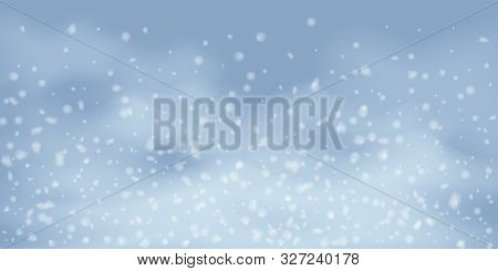 Winter Christmas Background With Sky, Heavy Snowfall. Falling Christmas Shining White Transparent Be