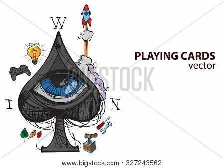 Ace Of Spades Playing Card Suit. Vector Illustration.
