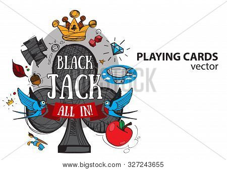 Ace Of Clubs Playing Card Suit. Vector Illustration.