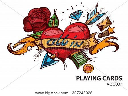 Ace Of Hearts Playing Card Suit. Vector Illustration