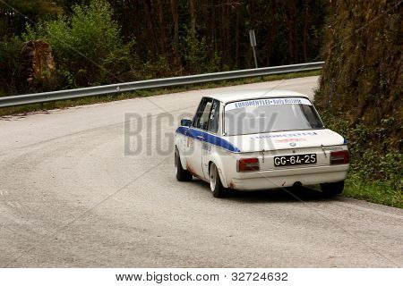 LEIRIA, PORTUGAL - APRIL 20: José Grosso drives a BMW 2002 during Day One of Rally Verde Pino