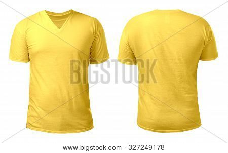 Yellow V-neck T-shirt Mock Up, Front And Back View, Isolated. Male Model Wear Plain Yellow Shirt Moc