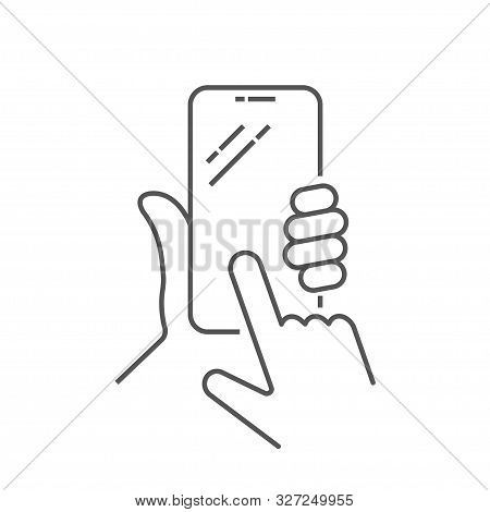 Hand Holing Smart Phone With Buy Button On The Screen. Using Mobile Smartphone. Mobile Phone Line Ic