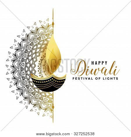 White Diwali Background With Golden Diya Design