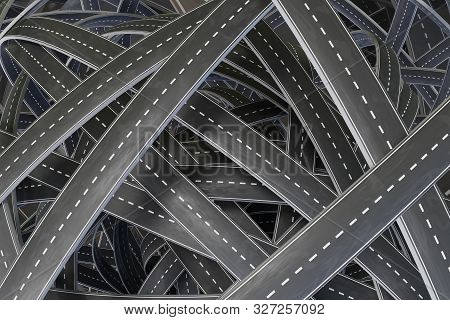 Many Tangled Chaotic Roads. 3d Rendered Illustration.