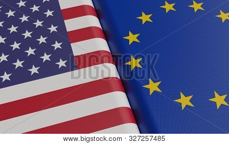 Usa And European Union Flags. 3d Rendered Illustration.
