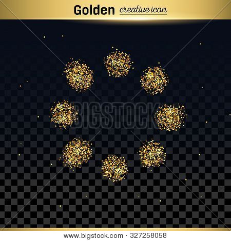 Gold Glitter Vector Icon Of Loading Isolated On Background. Art Creative Concept Illustration For We