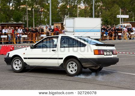 Leiria, Portugal - April 22: Carlos Morgado Drives A Toyota Corolla Ae86 During Leiria City Slalom 2