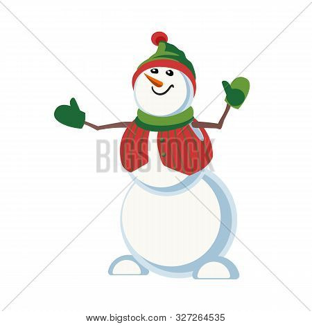 Cute Snowman Icon Isolated On White. Holiday Cartoon Playful Fun Snowball In Elf Hat. Merry Christma