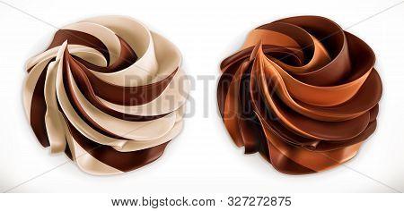 Chocolate Swirl Duo Spread. 3d Vector Realistic Icon