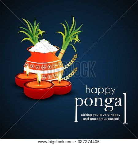 Happy Pongal Religious Festival Of South India Celebration Background. Glossy Mud Pot, Full Of Rice
