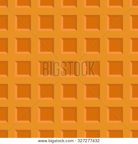 Large Cellular Wafer Seamless Background. Appetizing Repeating Waffle Texture.