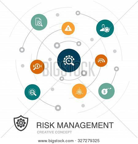 Risk Management Colored Circle Concept With Simple Icons. Contains Such Elements As Control, Identif
