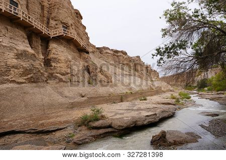 Landscape View Of The Yulin Cave In Dunhuang Ggansu China