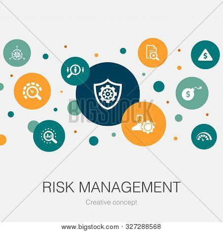 Risk Management Trendy Circle Template With Simple Icons. Contains Such Elements As Control, Identif