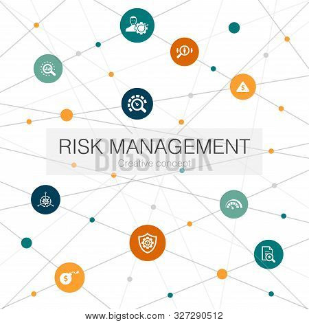 Risk Management Trendy Web Template With Simple Icons. Contains Such Elements As Control, Identify,