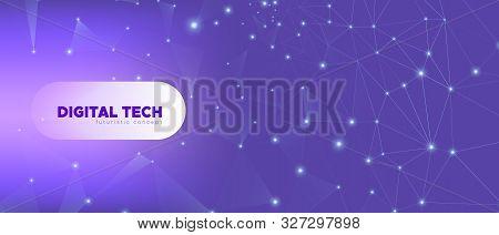Data Tech Concept. Violet Vector Science Flyer. Gradient Geometric Illustration. Magic Polygonal Ban