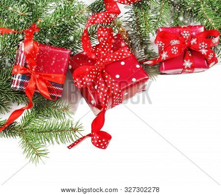 Christmas Background Concept. Top View Of Christmas Gift Box With Spruce Branches, Pine Cones On Whi