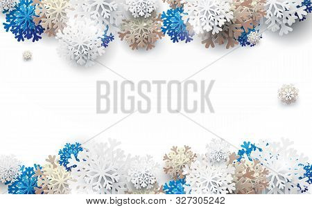 Merry Christmas And Happy New Year Banner. Abstract White, Gold And Blue Snowflakes Background. Pape