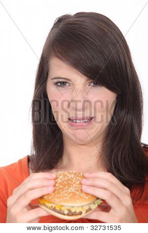 Unappetizing hamburger