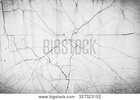 Cracked Concrete Wall Background, Cracked White Wall Texture Background.