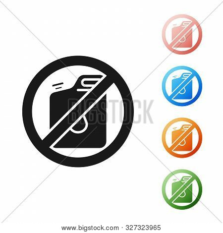 Black No Canister For Gasoline Icon Isolated On White Background. Diesel Gas Icon. Set Icons Colorfu