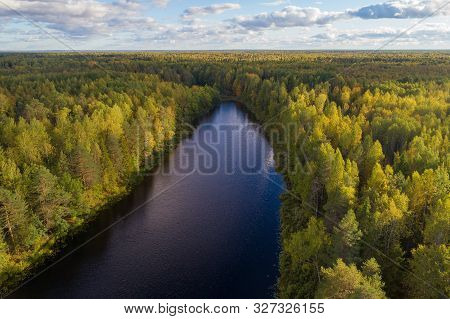 Forest Lake In The Autumn Landscape. Kostroma Region, Russia