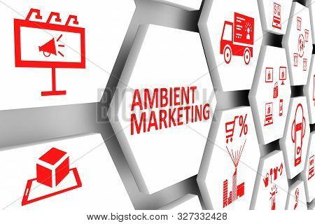 AMBIENT MARKETING concept cell background 3d illustration poster