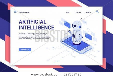 Mobile Chatbot. Artificial Intelligence Chat Assistant Bot In Smartphone App And Educational Robot.