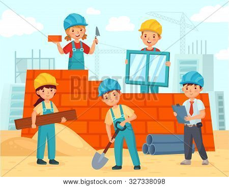 Kids Build Construction. Little Workers In Helmets Build Building From Bricks, Funny Kids Teamwork A