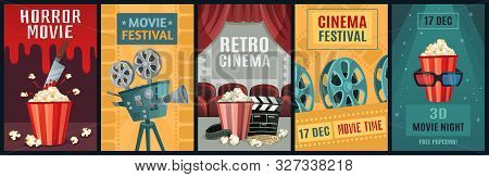 Movie Poster. Horror Film, Cinema Camera And Retro Movies Night Posters Template. Old Movie Festival