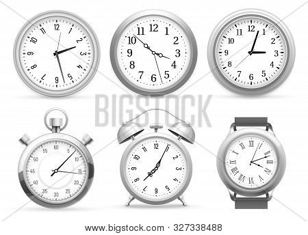 Realistic Clocks. Wall Round Clock, Alarm And Wristwatches. Stopwatch Timer, Time Watch Or Analog Am
