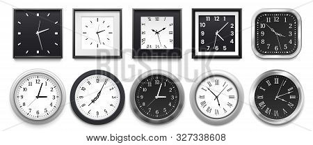 Realistic Clock. Modern White Round Wall Clocks, Black Watch Face And Time Watch Mockup. Deadline Ti