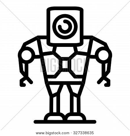 Android Robot Icon. Outline Android Robot Vector Icon For Web Design Isolated On White Background
