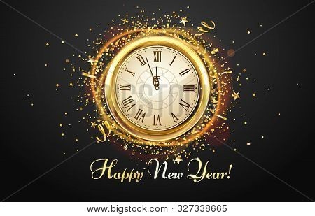 New Year Countdown Watch. Holiday Antique Clock With Golden Confetti, Happy New Year Greeting Card.