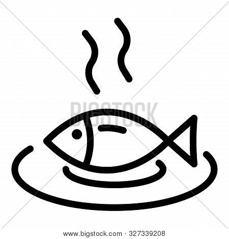 Hot Cooked Fish Icon. Outline Hot Cooked Fish Vector Icon For Web Design Isolated On White Backgroun