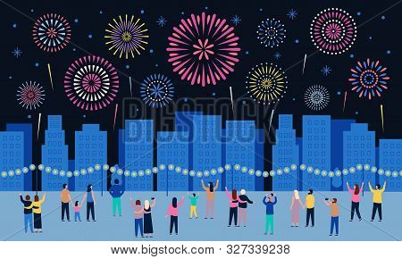 Crowd Watching Fireworks. Dark Night City With Firework Pyrotechnic Show, People Look In Sky And Cel