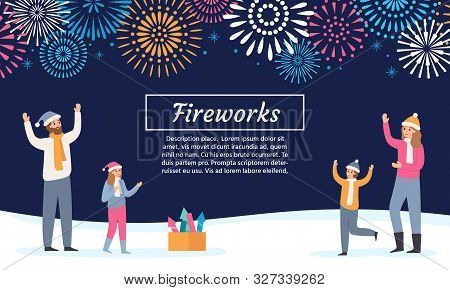 Family Watching Firework Explosions. Couple With Kids Launching Fireworks, Celebrating Holidays And