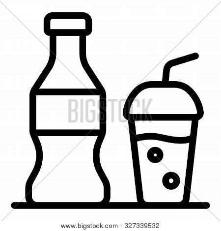 Soda Bottle Cup Icon. Outline Soda Bottle Cup Vector Icon For Web Design Isolated On White Backgroun