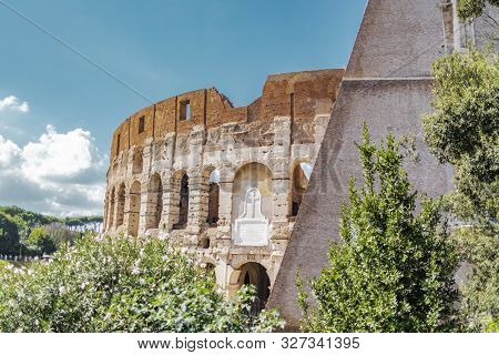 Rome, Italy - October 6, 2019: Exterior View Of The Ancient Colosseum Or Coliseum, Also Known As Fla