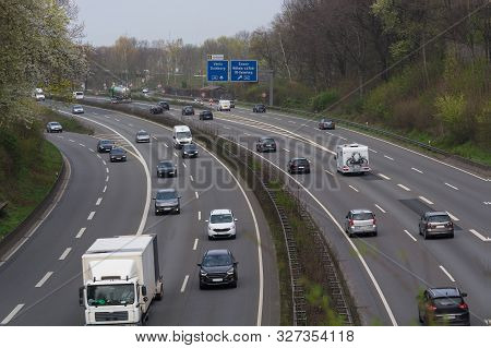 Cars On A German Highway In After-work Traffic