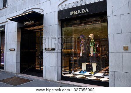 Milan, Italy - 07.06.2019: Storefront And Entrance Of Prada Milano Montenapoleone Uomo In Via Monte