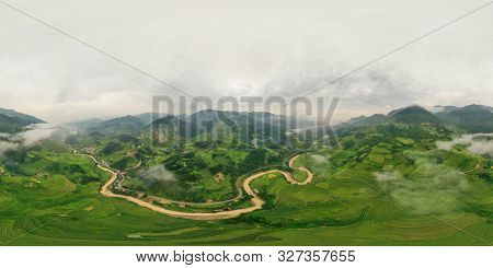 poster of 360 panorama by 180 degrees angle seamless panorama view of paddy rice terraces, green agricultural fields in rural area of Mu Cang Chai, mountain hills valley in Vietnam. Nature landscape background.