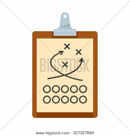 American Football Tactical Clipboard Icon. Flat Illustration Of American Football Tactical Clipboard