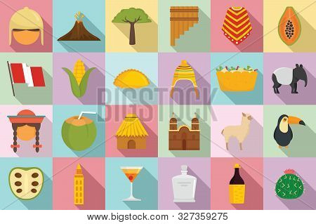 Peru Icons Set. Flat Set Of Peru Vector Icons For Web Design