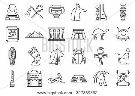 Egypt Travel Icons Set. Outline Set Of Egypt Travel Vector Icons For Web Design Isolated On White Ba
