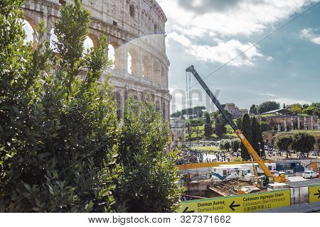 Rome, Italy - October 3, 2019: Construction In Front Of The Ancient Colosseum Or Coliseum, Also Know