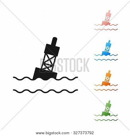 Black Floating Buoy On The Sea Icon Isolated On White Background. Set Icons Colorful. Vector Illustr